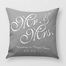 Gray and White Mr. And Mrs. Wedding Pillow Cover for Sofa or Bedroom