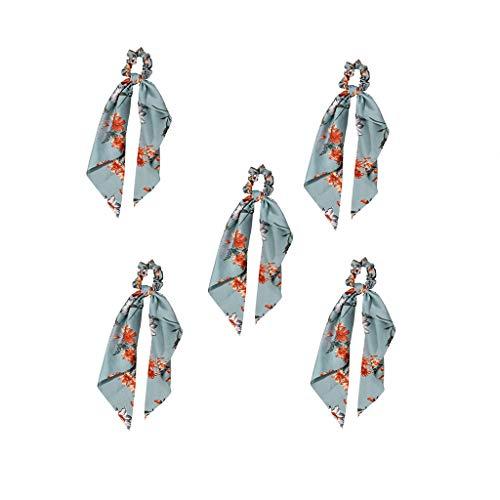 DANNIY Cheveux écharpes Chouchous 5 Pcs Longue Soie Satin Femmes Titulaire De Queue De Cheval Bowknot Bandes Cheveux Élastiques Foulards Élastiques Bandeaux Accessoires (H8379-5Pcs)