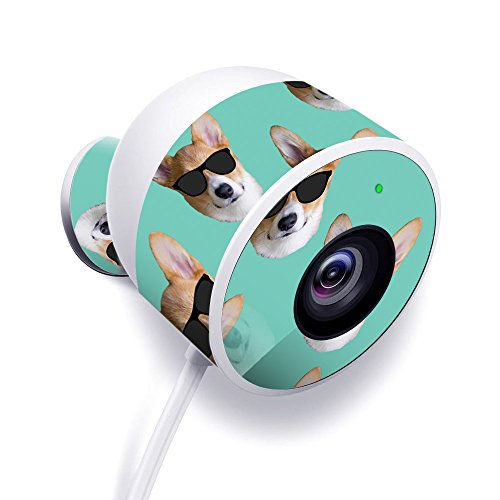MightySkins Skin for Nest Cam Outdoor Security Camera - Cool Corgi | Protective, Durable, and Unique Vinyl Decal wrap Cover | Easy to Apply, Remove, and Change Styles | Made in The USA