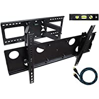 Eco-Best Full Motion Articulating Arm Cantilever Swivel Tilt TV Wall Mount Bracket for 32-65 inch LCD LED Plasma Flat Screen VESA up to 600x400mm, 165 lb Weight Capacity, Free 10 ft HDMI Cable, Black