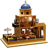 Rylai 3D Puzzles Wooden Handmade Miniature Dollhouse DIY Kit w/ Light - Romantic Santorini Island