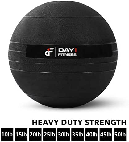 Weighted Slam Ball by Day 1 Fitness – 9 Sizes Available, 10-50 Pounds - No Bounce Medicine Ball - Gym Equipment Accessories for High Intensity Exercise, Functional Strength Training, Cardio, CrossFit