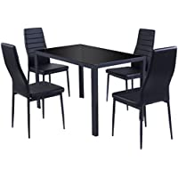 5 PCS. Kitchen Dining Set Glass Metal Table & 4 Chairs Breakfast Furniture