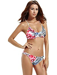 540fd03a16a9a Women s Strap Side Bottom Halter Racerback Bikini Bathing Suits (FBA)