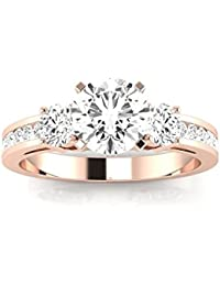 14K White Gold 2.1 CTW Round Cut Channel Set 3 Three Stone Diamond Engagement Ring, J Color I2 Clarity, 1.5 Ct Center