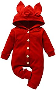 Newborn Boy Girl Solid Linen Ruffle Romper Bodysuit Clothes for 0-24Months,SIN vimklo Baby Playsuit