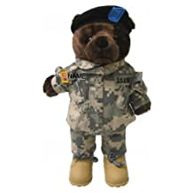 "Stuffed 20"" teddy bear in personalized custom embroidered U.S. Army Combat Military Uniform-ACU"