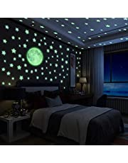 Yosemy Muurstickers lichtgevende stickers, 222 stickers sterren en maan fluorescerende muurstickers, fluorescerende stickers voor kinderkamer kamer thuis decoratieve stickers