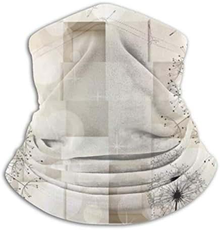 Fleece Neck Warmer ,multifunctional Dandelion Floral Pattern On Ivory Checks Scarf,a Full Face Mask Or Hat, Neck Gaiter, Neck Cap ,ski Mask, Half Ma