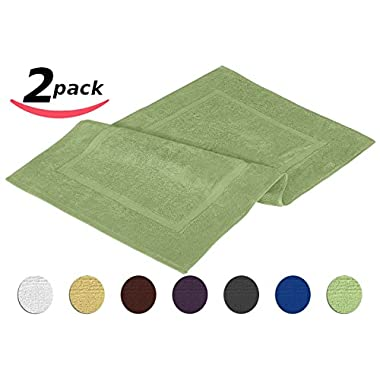 Luxury Hotel-Spa Tub-Shower Bath Mat - Floor Mat - 2 Pack, Sage Green, 100% Ringspun Cotton, Luxury Size, Maximum Absorbency, Machine Washable (21 inch by 34 inch) by Utopia Towel
