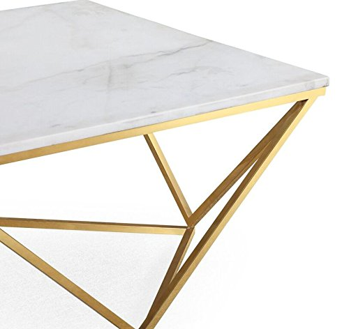 TOV Furniture The Leopold Collection Modern Style Marble Top Cocktail Table with Gold Finish Legs, White