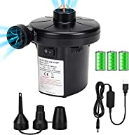 Electric Air Pump for Inflatables, Portable Quick Air Pump with 3 Nozzles for Air Mattresses Beds Boats Swimmi
