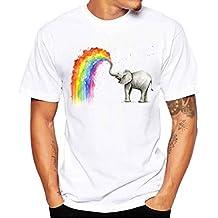 Bokeley Men's Crew Neck T Shirt Short Sleeve Tees Graphic Rainbow Elephant