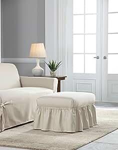 Serta Relaxed Fit Duck Slipcover Box Cushion Chair U0026 Ottoman Set, Natural,  2 Piece