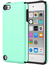MoKo Case Fit iPod Touch 2019 Released iPod Touch 7/ iPod Touch 6/ iPod Touch 5, 2 In 1 Shock Absorbing TPU Bumper Ultra Slim Protective Case with Hard Back Cover - Mint Green
