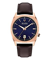 Bulova Accutron II Men's UHF Watch with Blue Dial Analogue Display and Brown Leather Strap - 97B133