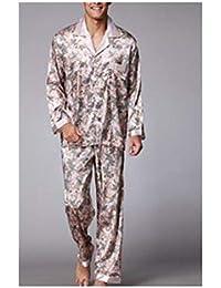 e79a245361 Summer Autumn Mens Silk Satin Pajamas Set Pyjamas Set Twinset Sleepwear  Loungewear