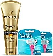 Venus Spa Cartuchos Para Afeitar, 2 Paquetes de 2 Unidades c/u + Pantene 3 Minute Miracle Acondicionador Hidra