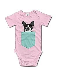 Infant Boston Terrier And French Bulldog Short Sleeve Unisex Baby Jumpsuit Onesie
