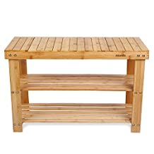 HOMFA 100% Natural Bamboo Shoe Bench 2 Tier Wooden Shoe Rack Organizer Entryway Shoe Storage