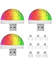NEPAK 3 Pack USB Mini Disco Licht Auto Sfeer Licht Party Lights Geluid Geactiveerd, Halloween DJ Disco Stage Lights-Multi Kleuren voor Xmas Feesten, Zwembad, Club, Kerk, Karaoke, Bruiloft