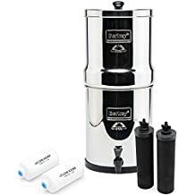 Big Berkey BK4X2 Countertop Water Filter System with 2 Black Berkey Elements and 2 Fluoride Filters