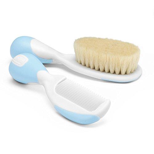 Chicco 66003320000 - Cepillo de cerdas naturales y peine, color azul
