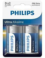 Philips Ultra Alkaline Battery D - 2pc blister card- More Power than regular alkalines