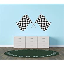 Top Selling Decals - Prices Reduced : Auto & Motorcycle Racing Flag Black / White Checkered Race Car Championship Winner Boy Kids Wall Sticker Size : 12 Inches X 24 Inches - 22 Colors Available