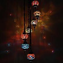 Handmade Multicolor Turkish Moroccan Ottoman Style Mosaic Floor Lamp with 7 Medium Size Globes