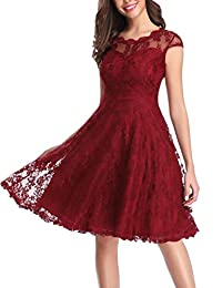 OWIN Women's Vintage Floral Lace Cap Sleeve Fit Flare Elegant Cocktail Party Dress
