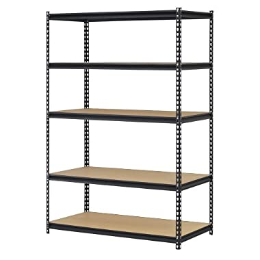 Edsal URWM184872BK Black Steel Storage Rack, 5 Adjustable Shelves, 4000 lb. Capacity, 72  Height x 48  Width x 18  Depth