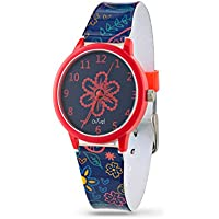 Ovvel Girls Watch – Pretty and Cute Kids Wrist with Teaching Analog Display Time Teacher - Japanese Quartz Movement – Navy and Red Paisley Design Strap