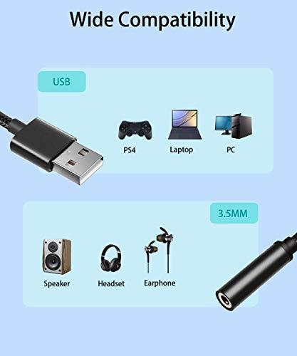 USB to 3.5mm Audio Adapter, TRRS 4 Pole Mic USB to Headphone AUX Audio Jack External Sound Card Adapter Built-in External Stereo Sound Card for Headphone, Speaker, Mac, PS4, PC, Laptop, Desktops