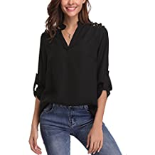 Abollria Womens Chiffon Long Sleeve Tops Casual Blouse Shirt