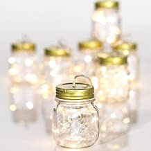 Glass Mason Jar String Light Garland, Operated with Timer, 87-inch , Indoor or Outdoor