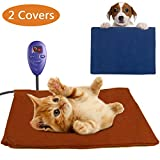 Pet Heating Pad for Cats Puppy Small Animals Electric Heating Pad Indoor Waterproof Adjustable Temperature Warming Mat with Chew Resistant Steel Cord and 2 Soft Removable Washable Covers (11.9''*15.8'')