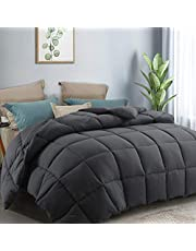 CottonHouse King Size(90x102) All Season Comforter Breathable Hypoallergenic Reversible Quilted Darkgrey Duvet Insert Down Alternative Fill with Corner tabs,Machine Washable Grey