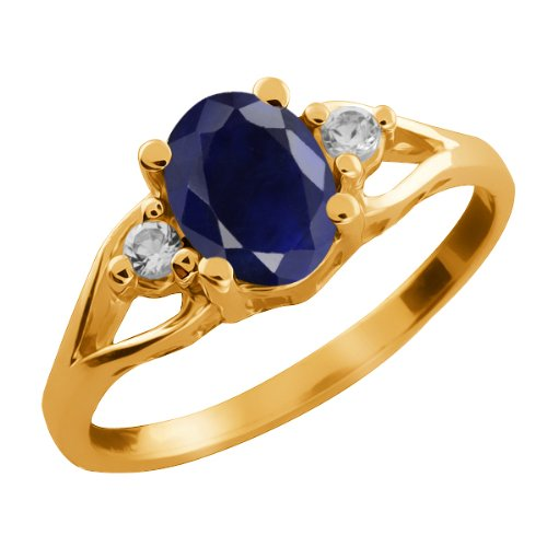 1.83 Ct Oval Blue Sapphire Creamy Sapphire 18K Yellow Gold Ring