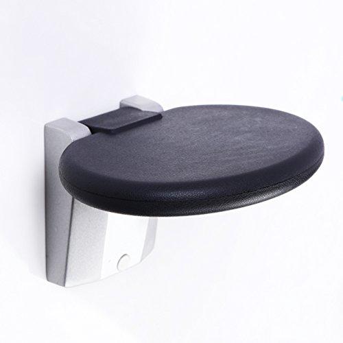 Nclon Aleacion de Aluminio del Plegable Montado en la Pared Cambio de Taburete de Zapatos,Multifuncion Ocultas Zapato Reemplazo Taburete para Bano Ducharse Bano-Redondo