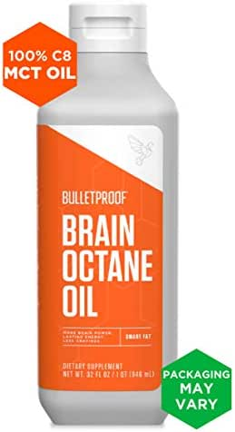 Bulletproof Brain Octane MCT Oil, Perfect for Keto and Paleo Diet, 100% Non-GMO Premium C8 Oil, Ketogenic Friendly, Responsibly Sourced from Coconuts Only, Made in The USA, 32 Fl. Oz