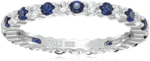 Rhodium Plated Sterling Silver Alternating Round Eternity Ring