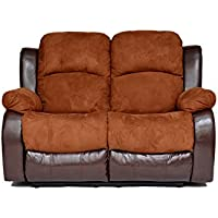 Classic and Traditional Brush Microfiber and Bonded Leather Recliner Loveseat (Brown)