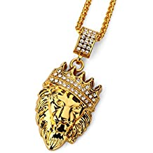 """18k Gold Plated King Lion Pendant Necklace with 24"""" Stainless Steel Rope Chain"""
