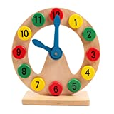 Samber Children Teaching Clock Kids Cognitive Digital Clock Wooden Geometry Clock Toy Learn to Tell Time Early Education Puzzle Toy for Toddler Children Kids