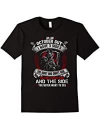Mens As An October Guy Have 3 Sides Shirt Awesome Birthday Gifts
