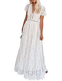 Women's V Neck Floral Lace Wedding Dress Short Sleeve Bridesmaid Evening Party Maxi Dress