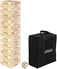 VALUE BOX Giant Tumble Tower Wooden Blocks Stacking Toppling Timber Tumbling Yard Game Floor Game, 66 Pieces,