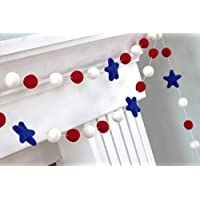 "Patriotic USA Felt Balls and Stars Garland- Red, White, Royal Blue- 1"" (2.5 cm) Wool Felt Balls"