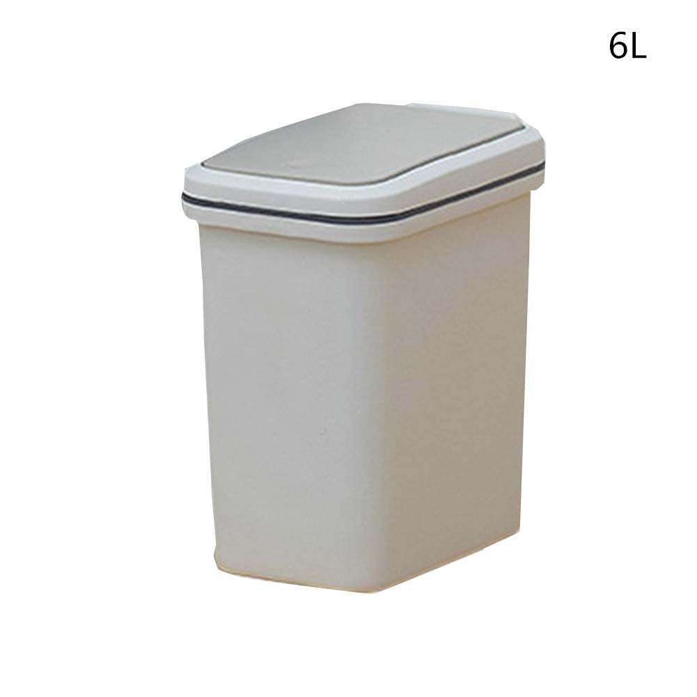 WoLoYo Rectangular Gris Blanco Bote de Basura Tipo Plástica en Presionar Tipo Basura de Tapa Trash Cans Plástico Basurero para Baño Dormitorio Cocina Oficina,15L c929af